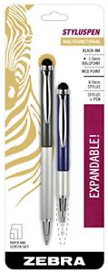 Zebra StylusPen Telescopic Ballpoint Pen, Medium Point, 1.0mm, Black Ink, Grey