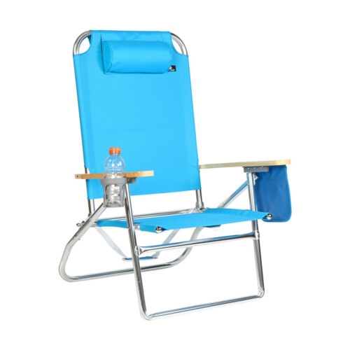 Extra Large High Seat 3 pos Heavy Duty Beach Chair w// Drink Holder