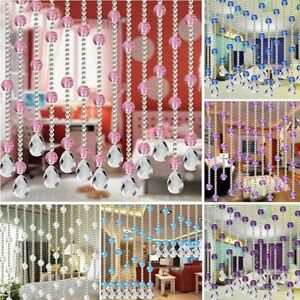 1m Acryl Schnur Vorhang Zimmer Organizer Quarz Glasperlen Tür