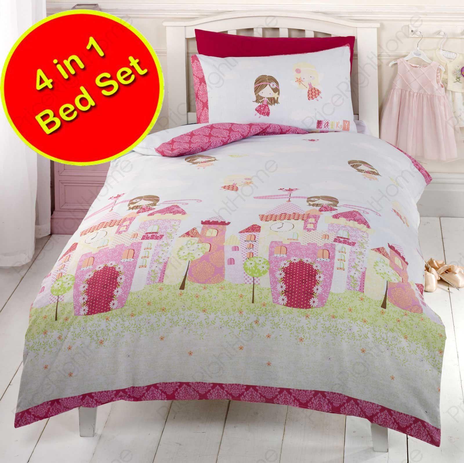 Fee Schloss 4-in-1 junior-bettwäsche-bündel Bettbezug Set | Elegantes Aussehen