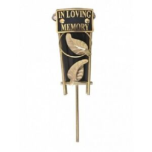 CEMETERY-GRAVE-VASE-SPIKE-Black-Gold-Metal-In-Loving-Memory-15-Variations