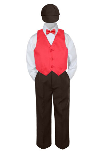 5pc Boy Suit Set Red Rudy Vest Bow Tie  Baby Toddler Kid Formal Hat Pants S-7