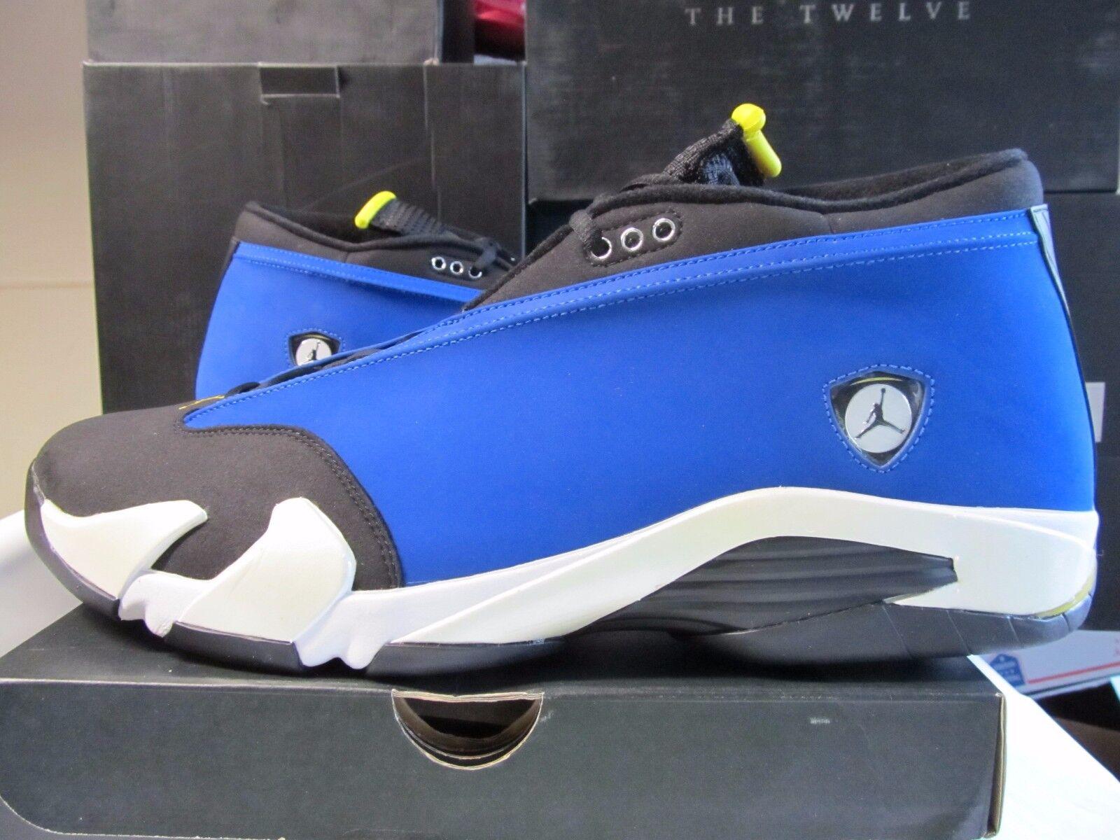 Ds Nike Air Jordan Retro 14 14 14 XIV Niedrig Laney Königsblau Mais Blk 18 807511 405 c3161f