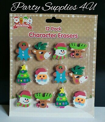 Xmas Christmas Novelty Eraser Rubber Stocking Loot Goody Party Bag Fillers Toys