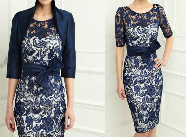 2015 New Navy Formal Evening Mother of the Bride Dress & Free Jacket Size 8-18