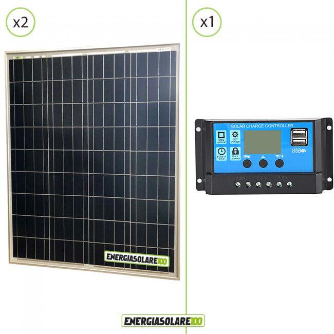 Kit placa panel solar 160W 24V Regulador de carga PWM 10A NV caravana islado