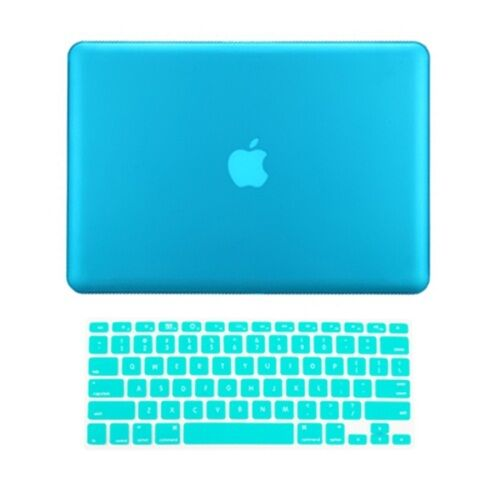 """2 in 1 Rubberized AQUA BLUE Case for Macbook PRO 15/"""" A1286 with Keyboard Cover"""