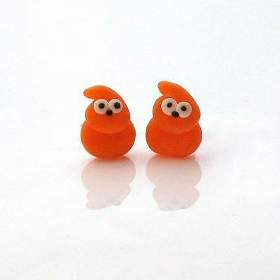 zingy stud earrings orange blob flame man cute handmade