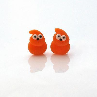zingy stud earrings orange blob flame man cute handmade