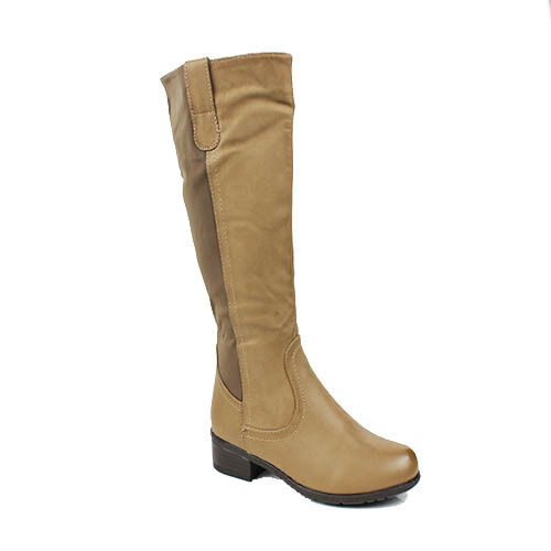 WOMENS ELASTICATED FUR LINED BLOCK HEEL KNEE HIGH BOOTS LADIES SHOES SIZE 3-8