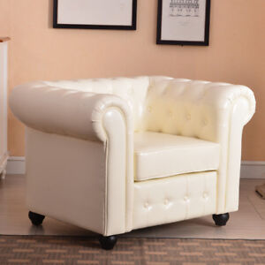 NEW Living Room Faux Leather Round Club Chair w/ Tufted Button Accents, Cream
