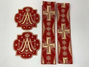 A-amp-o-Cruz-Corona-Vestment-Emblems-Banda-Oro-en-Rojo-7Pcs-Lote-Paquete