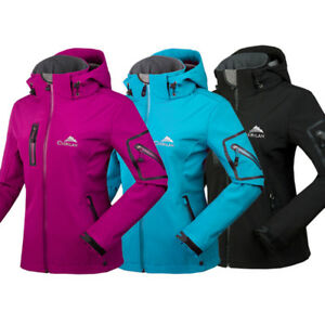 New-Womens-Waterproof-Breathable-Soft-Shell-Jackets-Ladies-Outdoor-Hooded-Coats