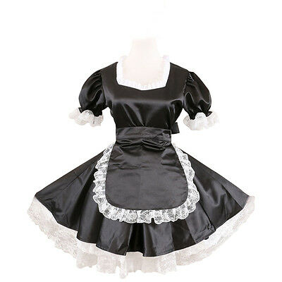68d2e212df Sexy Sissy Maid Black Satin Dress Gothic Lolita Cosplay Costume Male ...