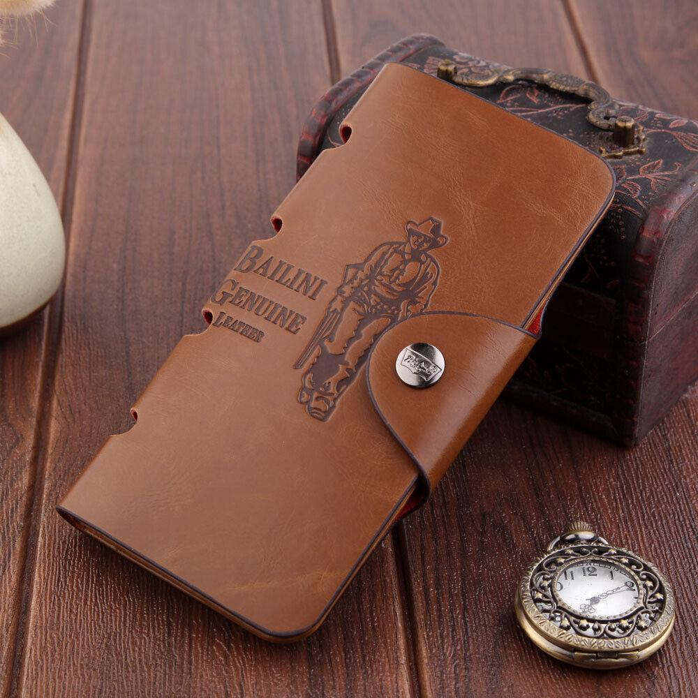 Retro Mens Leather Clutch Long Wallet Pocket Card Holder Bifold Purse Money Bag