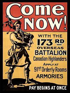 PROPAGANDA WAR WWI CANADA HIGHLAND BATTALION ENLIST ART POSTER PRINT LV7173