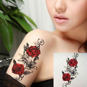 fcca21647 La imagen se está cargando Rosas-Flor-Pegatinas-Tatuajes-Temporales -Body-Art-3D-