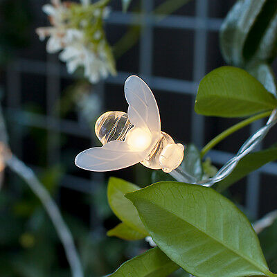 20 Warm White LED Bee Solar Party Fairy Outdoor String Lights for Patio & Garden