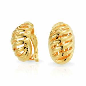 Two Tone Rope Half Hoop Clip on Earrings Ears 14K Gold Silver Plate Brass
