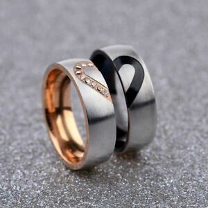CZ-Couple-Rings-Forever-Love-Heart-Brushed-Titanium-Steel-Wedding-Promise-Band