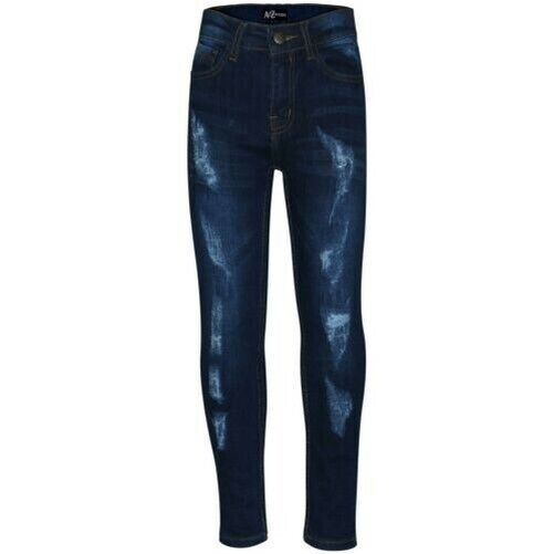Kids Stretchy Jeans Boys Jeggings Ripped Skinny Pants Trousers Age 5-12 Year