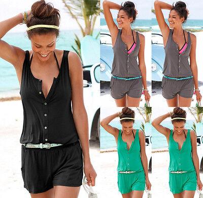 Sexy Womens Sleeveless Mini Playsuit Casual Jumpsuit Summer Shorts Beach Dress