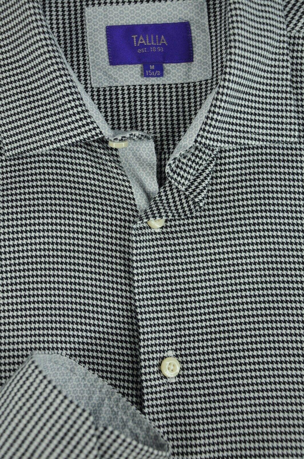 Tallia Men's Salt & Pepper Houndstooth Cotton Casual Shirt M Medium