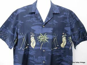 Aloha-Shirt-Men-XL-Hawaiian-Blue-Golf-Theme-Pacific-Legend-Palms-Clubs-52-034