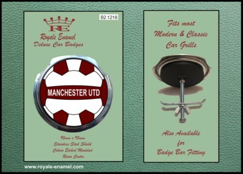 Royale Classic Car Grill Badge + Fittings - MANCHESTER UTD RED FOOTBALL B2.1218