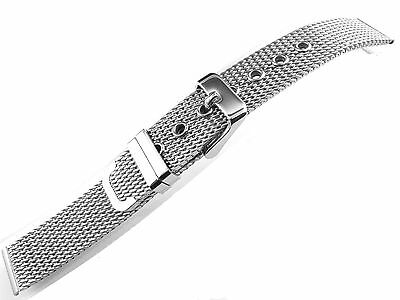 16mm Watch Bracelet Stainless Steel Silver Polishing 1.0mm Wire Mesh Strap New