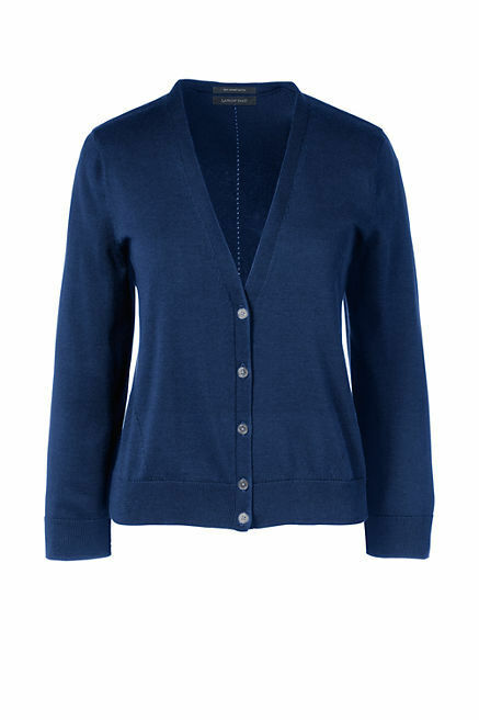 Lands End Women's Supima 3 4 Sleeve Dress Cardigan Sweater Celestial bluee New