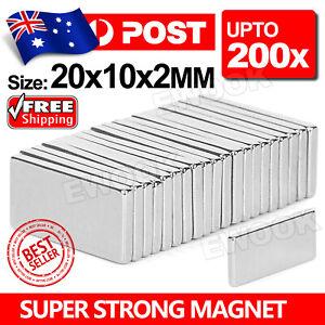 Neodymium Rare Earth Magnets Strong Block Cuboid Fridge 20x10x2mm 200 Pcs