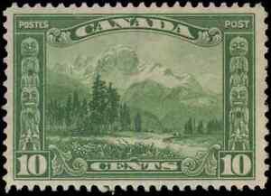 Canada-155-mint-VF-OG-HR-1928-Scroll-Issue-10c-green-Mount-Hurd-BC-CV-30-00