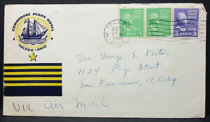 Commodore-Perry-Hotel-US-Airmail-Envelope-Toledo-USA-Schiffspost-Letter-H-6342