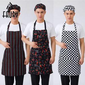 Men-Women-Cooking-Kitchen-Restaurant-Uniforms-Bib-Apron-Dress-with-Pocket-Plaid