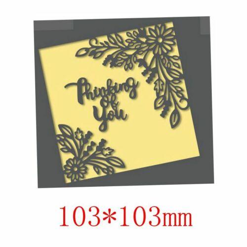 Greeting words Flower Frame Metal Cutting Dies DIY Album Stencil Embossing Craft