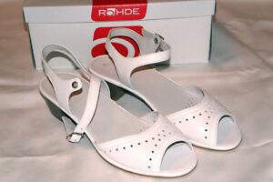 Rohde-Leder-Sandalen-Riemchen-weiss-Schnalle-Gr-5-1-2-38-2-3