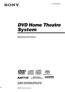 Sony dav-dz100 dvd home theater system manuals.