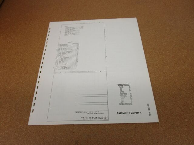 1979 Ford Fairmont Mercury Zephyr Wiring Diagram Sheet