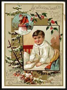 LION COFFEE Victorian Trade Card - Woolson - Christmas - Santa at the chimney