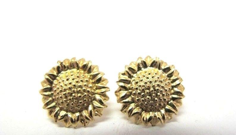 BEAUTIFUL SOLID 10K YELLOW gold SUNFLOWER STUD EARRINGS 1 2
