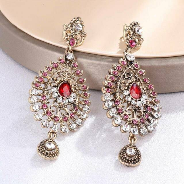 Long Large Crystal Pink Indian Gold Bride Earrings Jewelry Useful