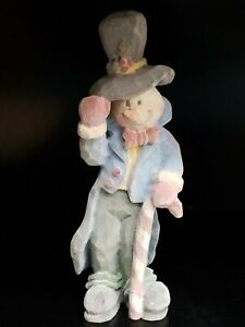 Snowman-Velvety-Felt-Feel-Holding-Candy-Cane-Walking-Stick-And-Top-Hat-Figurine