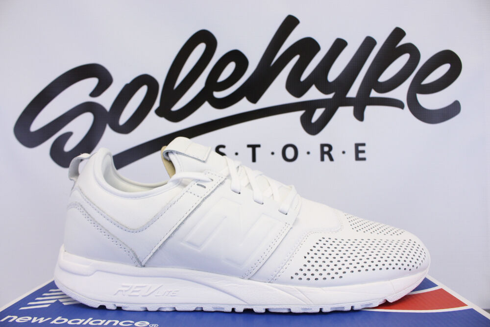 NEW BALANCE 247 TRIPLE WHITE LEATHER RUNNING SHOE MRL247LW SZ 10.5