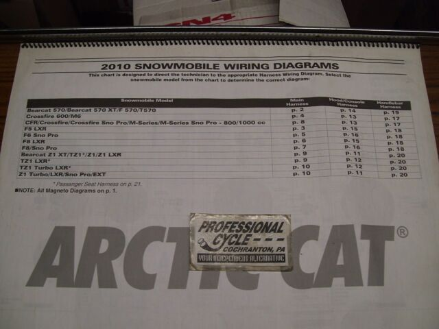 2010 Arctic Cat Snowmobiles Large Color Wiring Diagram