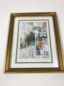 Steam-Clock-Signed-By-Joyce-Kamikura-Art-Print-Matted-Framed-11-x9