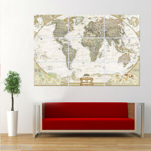 High definition world map poster australia map giant huge wall art image is loading high definition world map poster australia map giant gumiabroncs Gallery