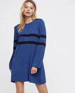 bf0f48ea51 NEW Free People blue black Oversize Rib Stripe Snap Pullover Sweater ...