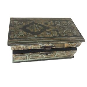 Vintage Wooden Trinket Box Hinged Lid Floral Green Accents Lined