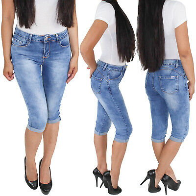 Damen 3//4 Capri Shorts Sommerhose Bermuda Jeans Kurze Hose Stretch Hüftjeans